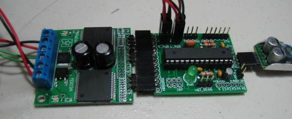 Pololu motor driver with speed and distance feedback.