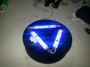Completed base with blinding LED light.