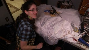 Soldering her wedding dress, days before the wedding